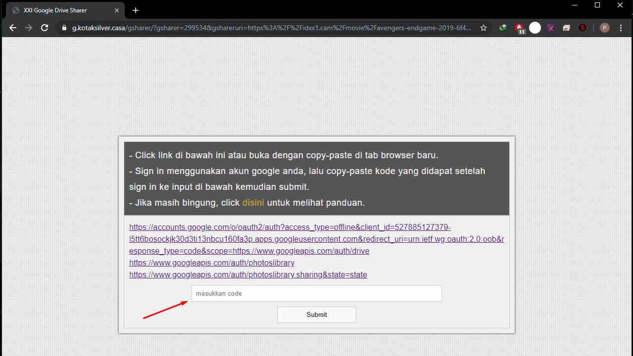 Tahap Keempat - Input Kode google